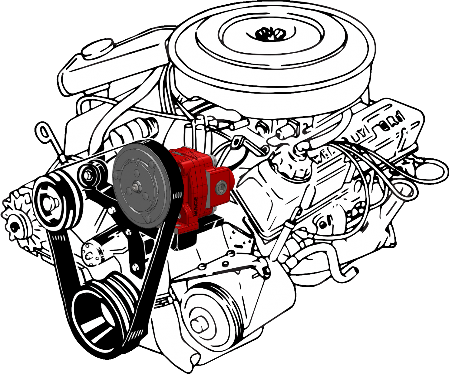 Illustration of a clutch pump with belt attached to an engine.