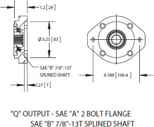 fa6b series power take off q output sae a 2 bolt flange sae b 7 8 13t splined shaft ·